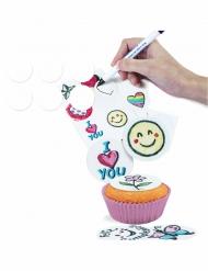 16 Mini disques blancs en sucre à personnaliser 3,4 cm