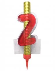 Fontaine lumineuse numéro 2 rouge 12 cm