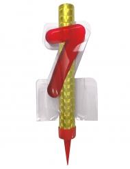 Fontaine lumineuse numéro 7 rouge 12 cm
