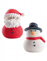 2 Décorations pour gâteau Père Noël et bonhomme de neige en sucre 4 cm