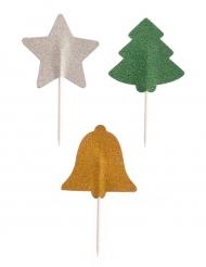 3 Piques en papier pailletés Noël 5 cm
