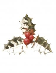 Décoration Houx de Noël doré 5 cm