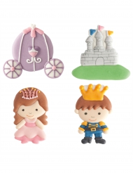 4 Décorations en sucre Prince et Princesse 5,5 cm