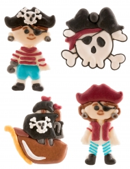 4 Décorations en sucre Pirate 5,5 cm