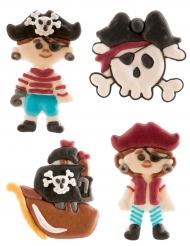 4 Décorations en sucre Pirate 5,5 cm