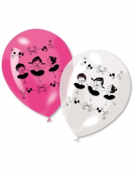 6 Ballons en latex ballerines roses et blancs 30 cm