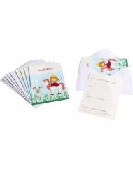 6 Cartons d'invitation avec enveloppes princesse 10 x 15 cm