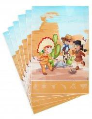 6 Sacs cadeaux en plastique cowboy et indien 15 x 23 cm