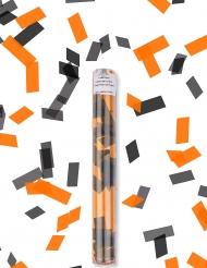 Canon à confettis rectangle noir et orange 27 cm