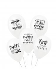 5 Ballons latex biodégradable Mots doux 27 cm