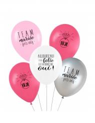 5 Ballons latex biodégradable Team mariée 27 cm