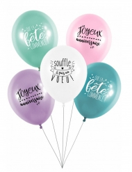 5 Ballons latex biodégradable Fais un voeu 27 cm