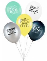 5 Ballons latex Souffle & Fais un voeu27 cm