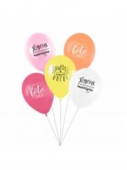 5 Ballons latex biodégradable Souffle & Fais un voeu girly  27 cm