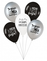 5 Ballons latex biodégradable Party anniversaire27 cm