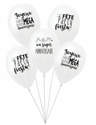 5 Ballons latex biodégradable Super anniversaire blancs 27 cm