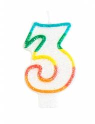 Bougie d'anniversaire chiffre 3 7,5 cm