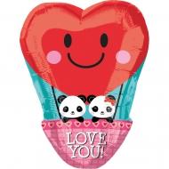 Ballon aluminium Panda Love 33 x 43 cm