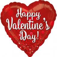 Ballon aluminium forme Coeur Happy Valentine's Day!  43 cm