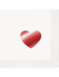 16 Serviettes en papier Coeur rouge métallisé 33 x 33 cm