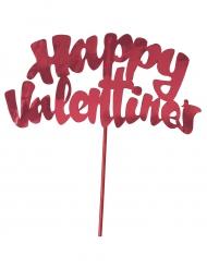 Décoration pour gâteau Happy Valentine's métallisé rouge 15,2 cm