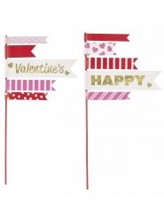 2 Fanions pour gâteau Happy Valentine's 25,4 cm