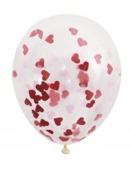 5 Ballons en latex transparents avec confettis coeurs rouges 40,5 cm