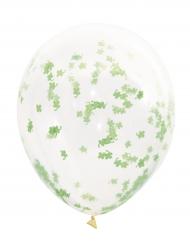 5 Ballons transparents avec confettis trèfles verts 40,6 cm
