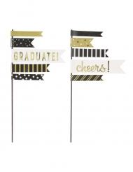 2 Décorations pour gâteaux fanions noir et doré 25,4 cm