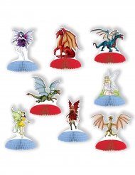 8 Mini centres de table dragons et fées