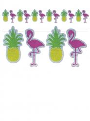 Guirlande pailletée flamants rose et ananas à assembler 22 cm x 3,6 m