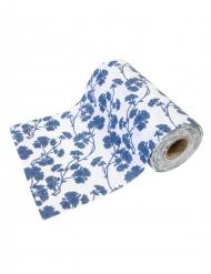 Sur chemin de table en toile fleurs bleues 5 m