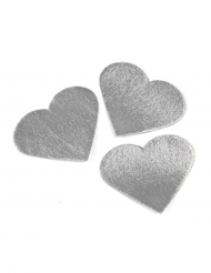 24 Cœurs effet métal argenté 5,5 cm