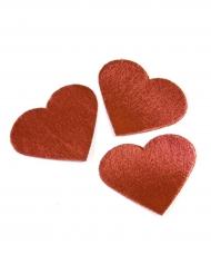 24 Cœurs en tissu effet métal rouge 5,5 x 4,5 cm