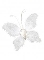 10 Petits papillons décoratifs blanc 2 x 3 cm
