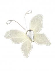 10 Petits papillons décoratifs ivoire 3 cm