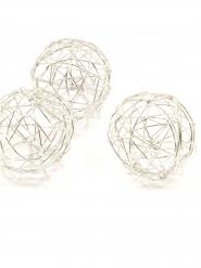6 Boules de décoration argenté métalisé 3,5 cm
