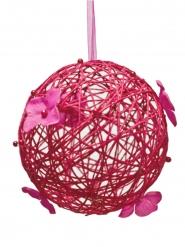 Boule décorative à suspendre fuchsia 12 cm