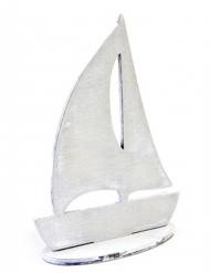 Voilier décoratif gris 15 x 11 cm