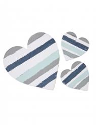 3 Cœurs en bois bleu pastel rayures 10 cm et 5 cm