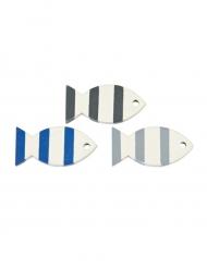 6 Poissons en bois décoratifs bleus et gris 3 x 2 cm