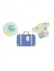6 Confettis de table Voyage Vacances 3 x 3 cm