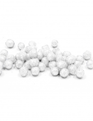 Mini boules pailletées blanches 8 mm 10 gr