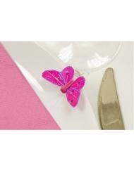 4 Pinces décoratives Papillon avec strass fuchsia 3,5 x 2,7 cm
