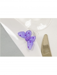 4 Pinces décoratives Papillon avec strass parme 3,5 x 2,7 cm