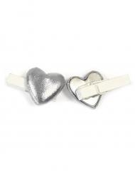 6 Pinces décoratives Cœur effet métal argenté 0,8 x 3,5 cm