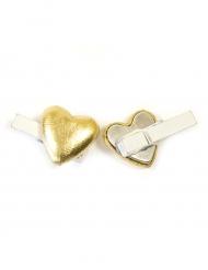 6 Pinces décoratives Cœur effet métal doré 0,8 x 3,5 cm