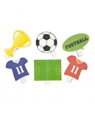 6 Pinces décoratives thème Football 3,8 et 4,6 cm