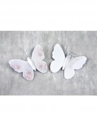 4 Pinces décoratives Papillon floqué blanc 5 cm