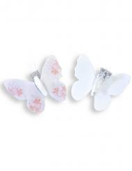 4 Pinces décoratives Papillon floqué rose 5 cm